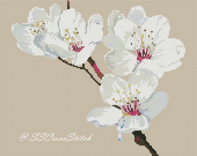 Flower Counted Cross Stitch Pattern White Prunus Mume Instant Download