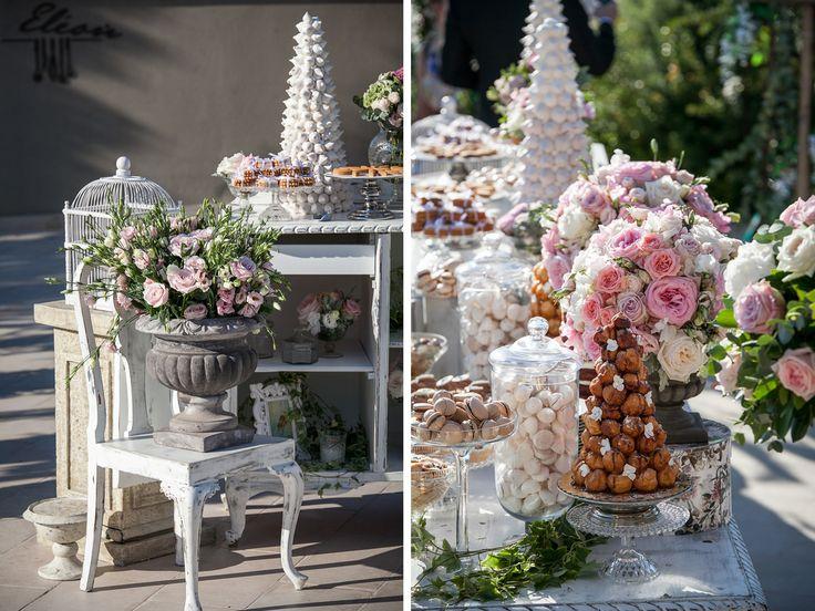 Elegant Vintage White Wedding Dessert Table Planned by DeplanV