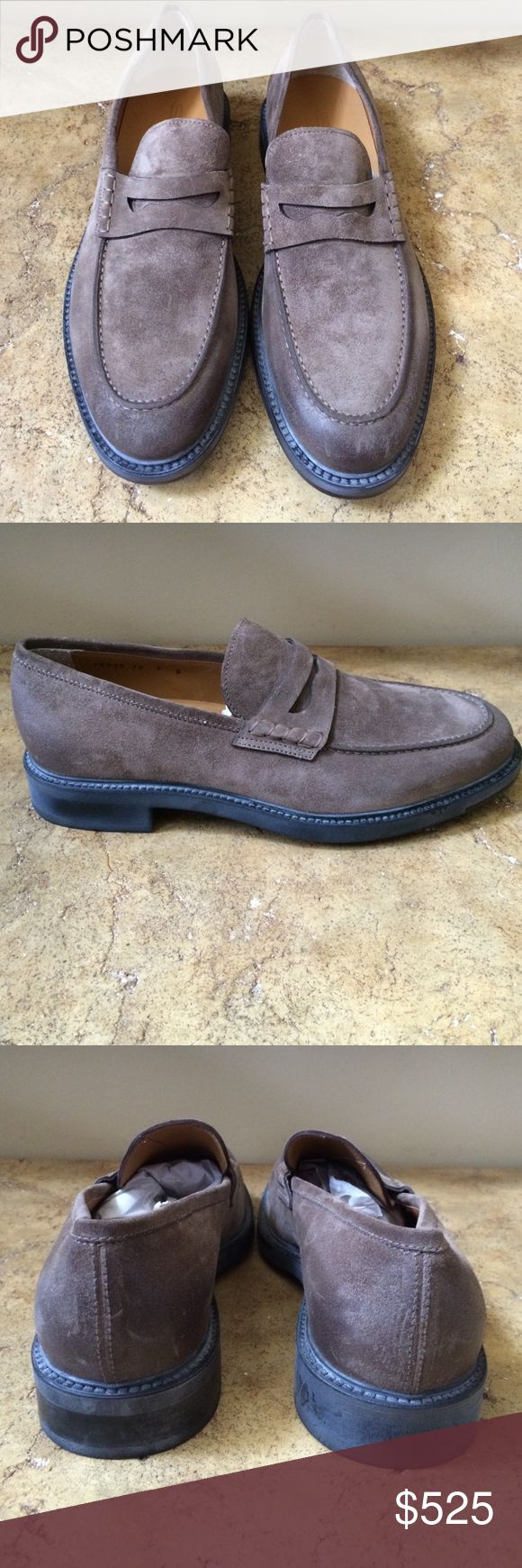 Santoni Men's Brown Suede Loafers Made in Italy Santoni Shoes Loafers & Slip-Ons
