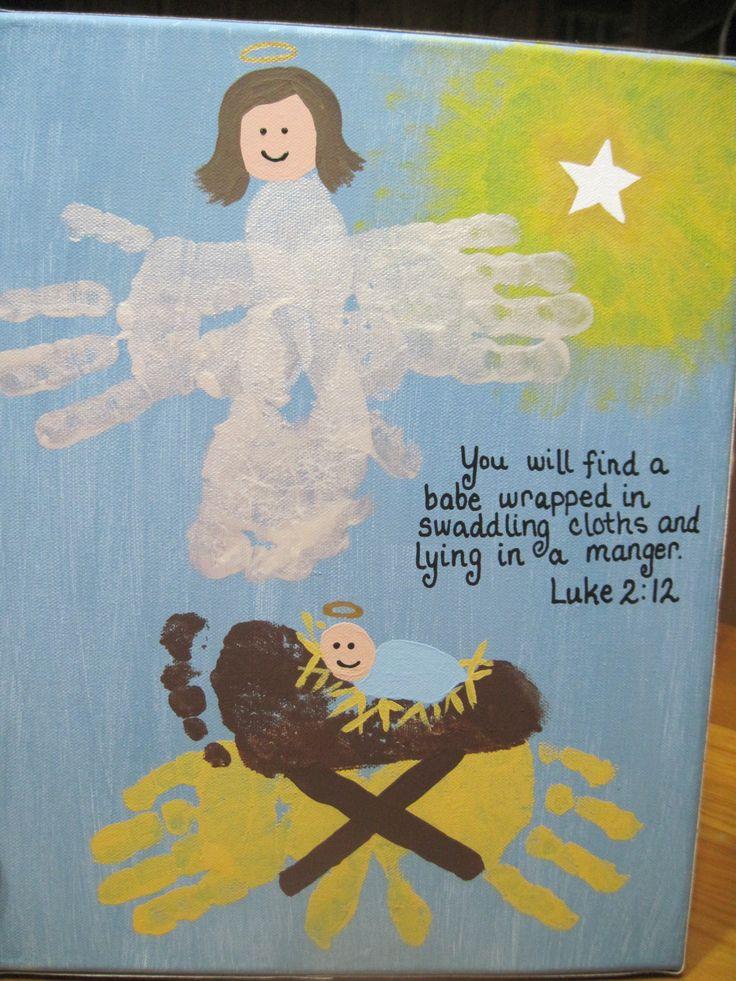 handprint manger scene - teacher gift made by the twins