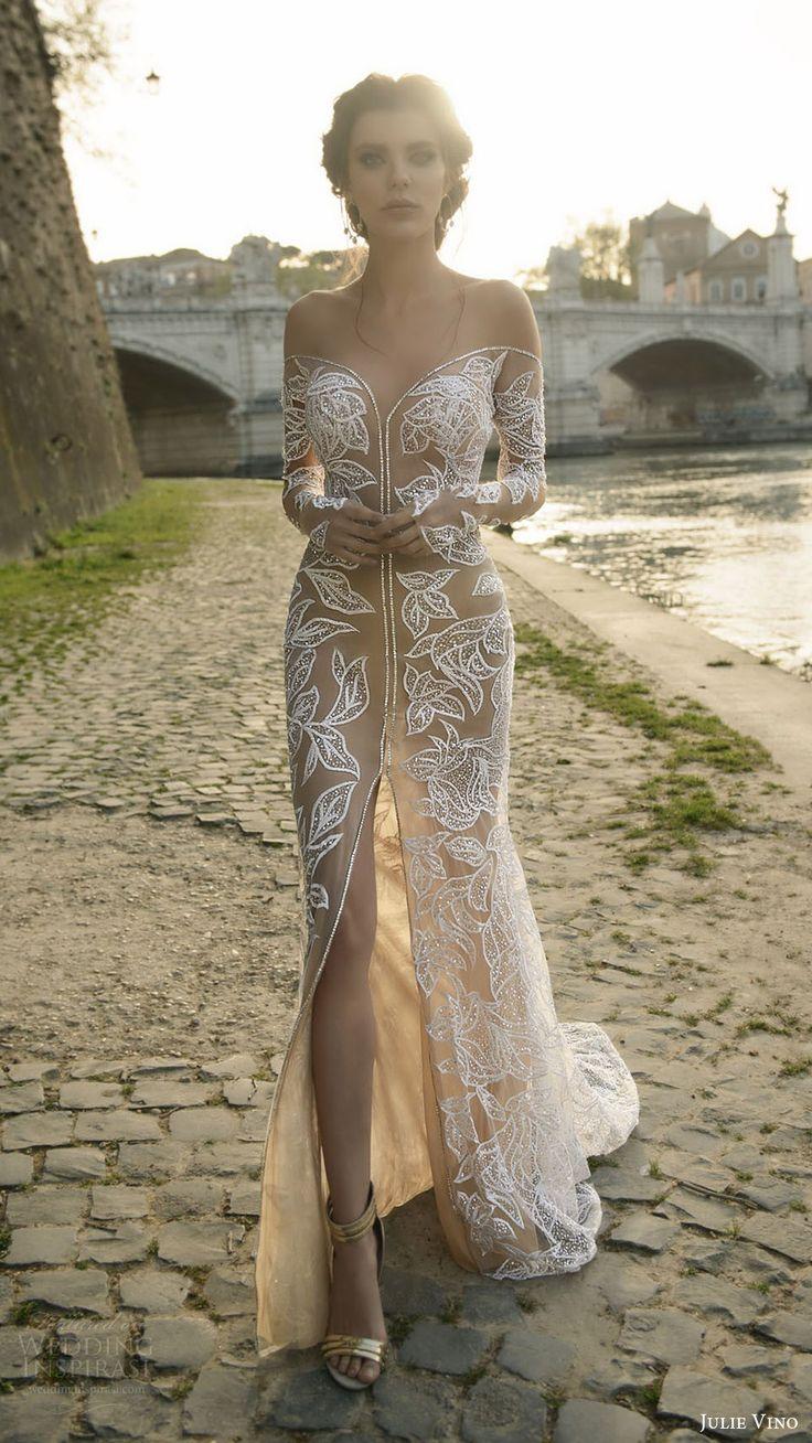 julie vino bridal spring 2017 long sleeves illusion off shoulder beaded sheath wedding dress (tatiana) mv nude color slit skirt