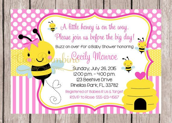 PRINTABLE Pink Bumble Bee Baby Shower Invitation By Ciaobambino