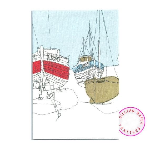 Fishing boats textile postcard