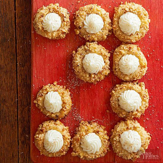 Thanks to homemade rum filling, every lush bite of these nutmeg thumbprints is melt-in-your-mouth good. Roll the gooey batter in chopped walnuts before baking.