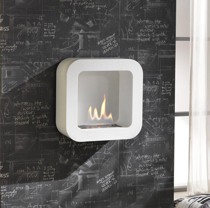 Caminetto da muro in metallo verniciato bianco opaco Bruciatore da 0,5l e strumento di controllo della fiamma  Misure: 42cmx18cm h.42cm