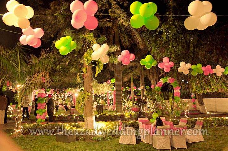 Outdoor birthday party arrangements balloon decoration for Balloon decoration images party
