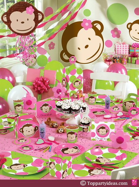 Pink Mod Monkey Party Supplies with pink and green polka dots