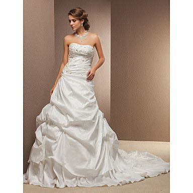 Classic & Timeless Ball Gown/A-line Strapless Cathedral Train Wedding Dress ( Taffeta ) – USD $ 189.99