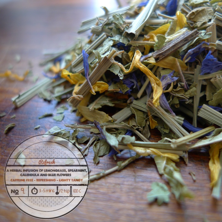 Refresh by T totaler:  A Herbal Infusion of Lemongrass, Spearmint, Calendula and Blue Flowers.