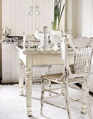 white vintage table settings.