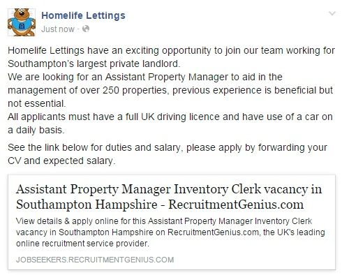 If you're based in the Southampton area, have a full UK driving licence and daily use of a car, apply for our exciting position at Homelife Lettings. We're recruiting for a Property Manager Assistant who will aid our team with the management of over 250 properties!  Apply via this link: https://jobseekers.recruitmentgenius.com/job-details/Assistant-Property-Manager-Inventory-Clerk-in-Southampton-Hampshire-ref-00031814
