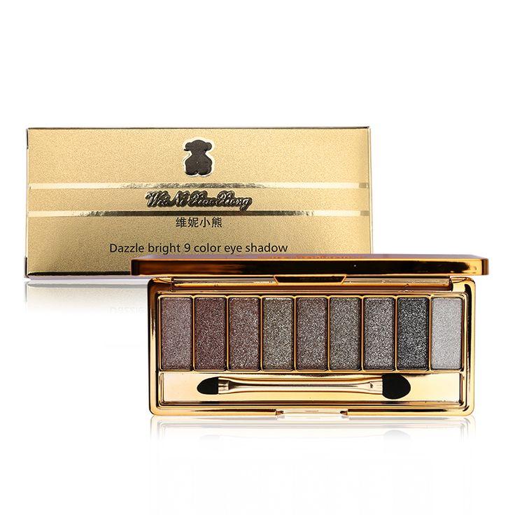 9 kleuren heldere diamant naked smoky makeup oogschaduw palet make up set oogschaduw maquillage professionele cosmetische met borstel