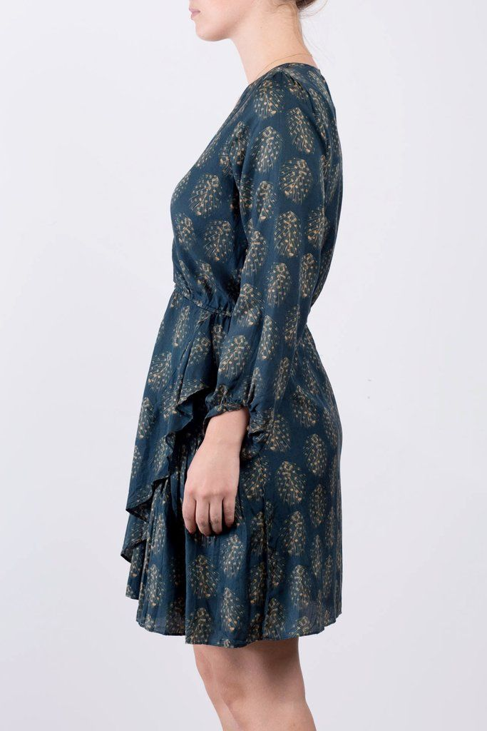 Robe verte en soie et coton