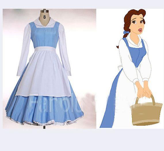 Disney Princess Beauty and The Beast Belle Blue Dress Cosplay Costume Handmade Custom All Sizes Comic Con Halloween Adult