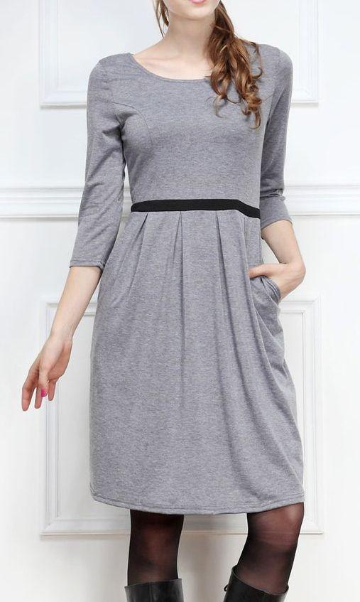 Gray Pleated Three-Quarter Sleeve Dress