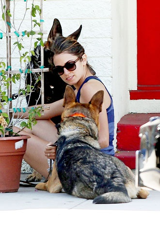 Nikki Reed and her dog