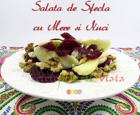Salata de sfecla rosie cu mere si nuci se prepara cu sfecla fiarta sau coapta, mere, nuci si dressing de ulei de masline si lamaie.