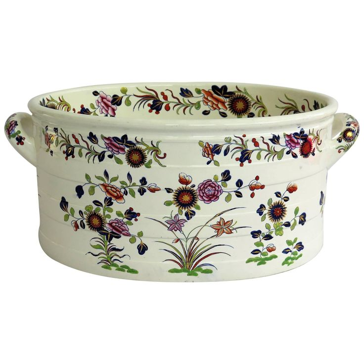Very Rare Spode Foot Bath Earthenware Chinese Flowers Pattern 2963, circa 1820
