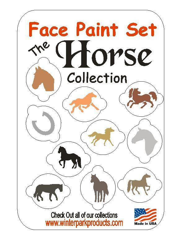10 Piece Horse Face Paint Set Facepaint Kit Stencils Cupcake COOKIES