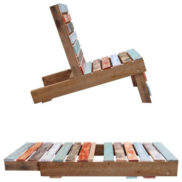 """This is the ultimate in eco-friendly AND minimalist design. This lawn chair is hand made and fold down into a pallet shape that's perfect for stacking. This is very clever.     Materials: magnet , reclaimed wood   As Chair: 41"""" L x 24"""" W x 33"""" H; As Pallet: 51"""" L x 24"""" W x 4"""" H   Sealed to be used outdoors, but prolonged exposure to rain not recommended."""