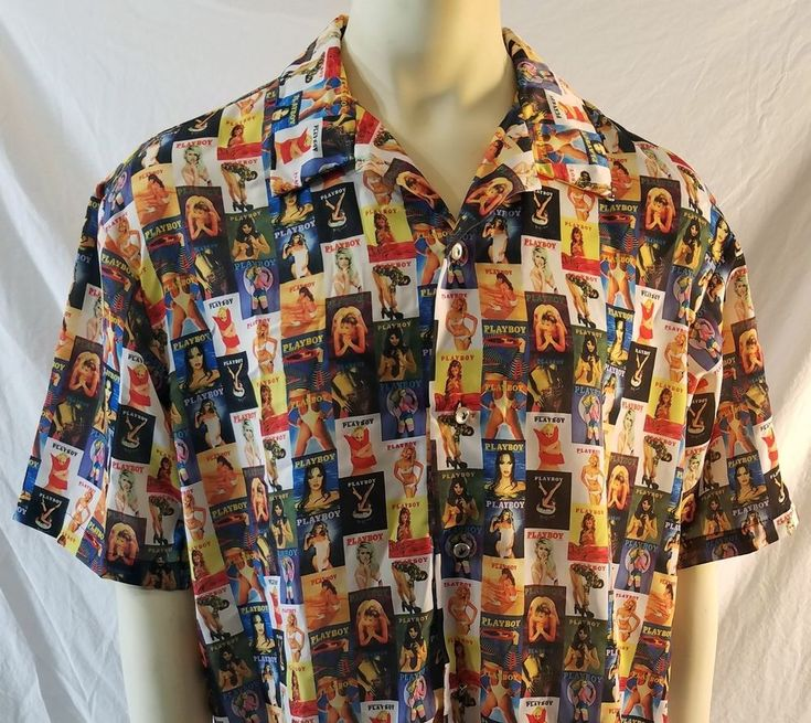 RARE Playboy Magazine Button Up Shirt Magazine Cover Playmate Bunny Mens XL NEW #Playboy #ButtonFront
