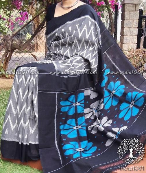 Designer+Woven+Ikkat+Cotton+Saree