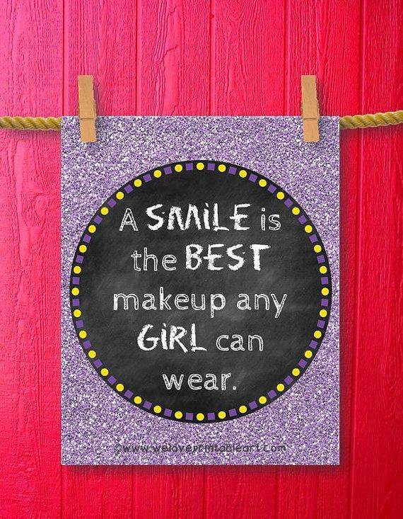 Framed Quotes Print Teen Room Decor Gifts by WeLovePrintableArt - A SMILE is the…