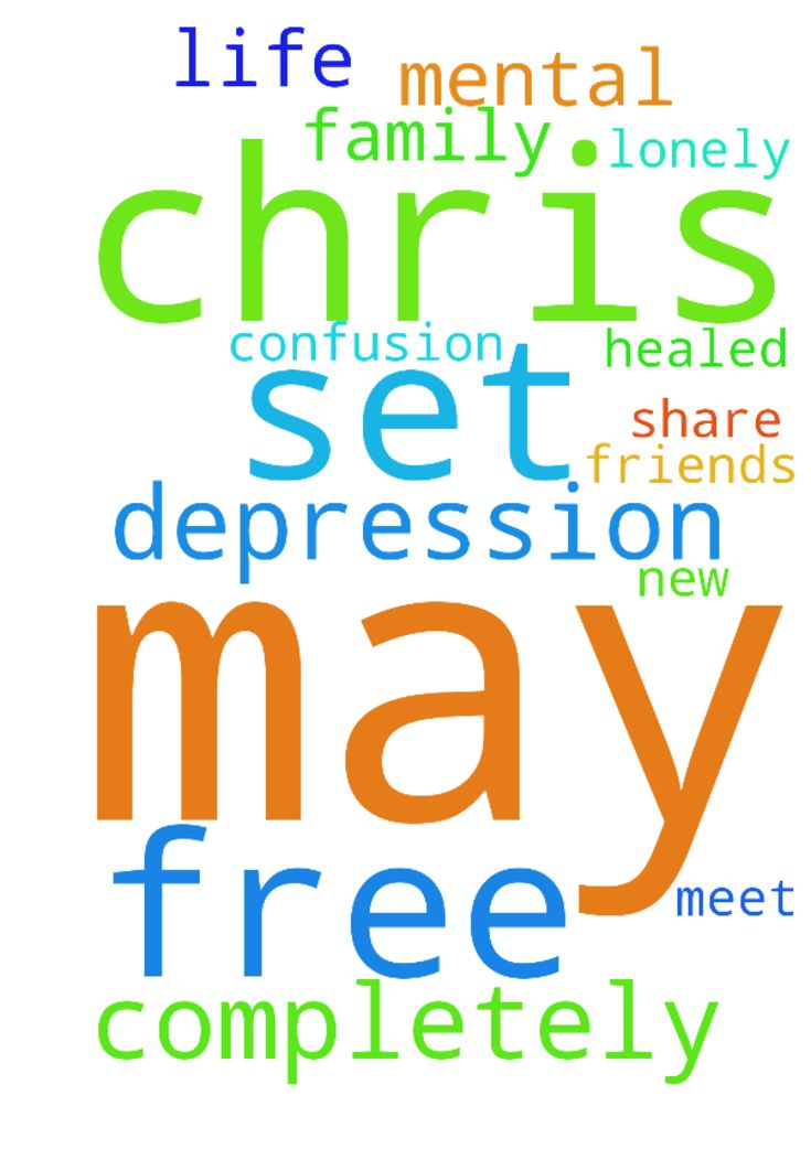 May Chris be set free from depression and completely -  May Chris be set free from depression and completely healed in Jesus Name! May  he meet new friends to share his lonely life with! No more mental confusion! May God help Chris and his family!!  Posted at: https://prayerrequest.com/t/5wD #pray #prayer #request #prayerrequest