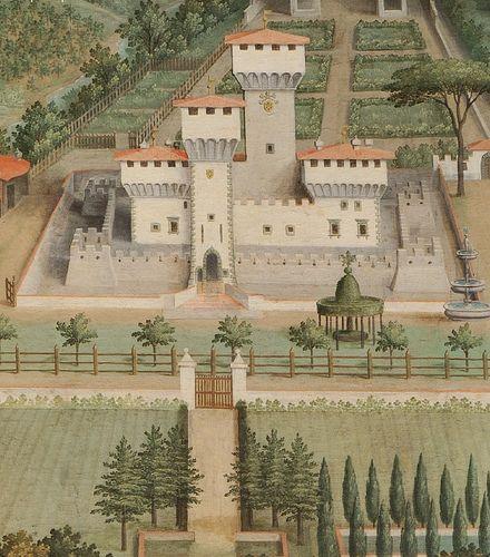 Villa Medicis de Cafaggiolo (Lunette de Giusto Utens - Musee de Florence)  Giusto Ustens réalisa une série de quatorze lunettes représentant les villas Médicis entre1599 et 1602, avec des vues aériennes, précieux témoignages de ces bâtiments du passé. Elles étaient au nombre de 17, mais seulement 14 ont survécu.