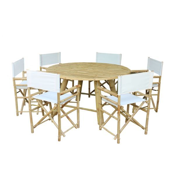 Zew Handcrafted Bamboo 7 Piece Round Patio Set White Size Sets Furniture