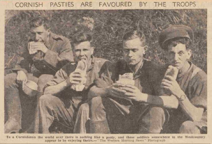 'CORNISH PASTIES ARE FAVOURED BY THE TROOPS' (13 September 1939) | Western Morning News, Cornwall. [Pic. from Christopher Haslop, 16 February 2018]     ✫ღ⊰n