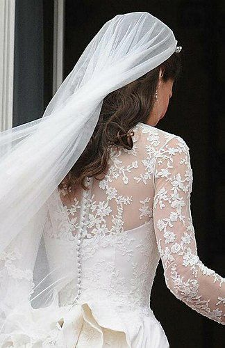 2011, Detail of back of the Duchess of Cambridge's wedding dress, designed by Sarah Burton for Alexander McQueen.