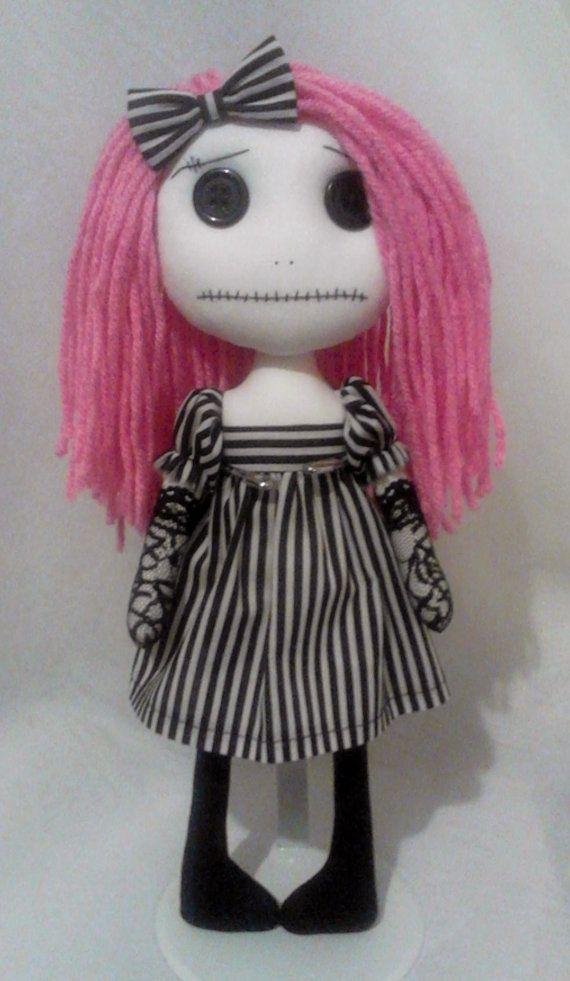 Gothic Art Rag Doll Katie by ChamberOfDolls on Etsy, £25.00