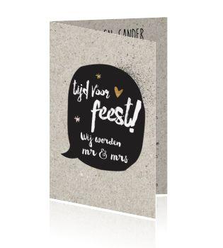 Originele trouwkaart met karton print en stoere tekstballon