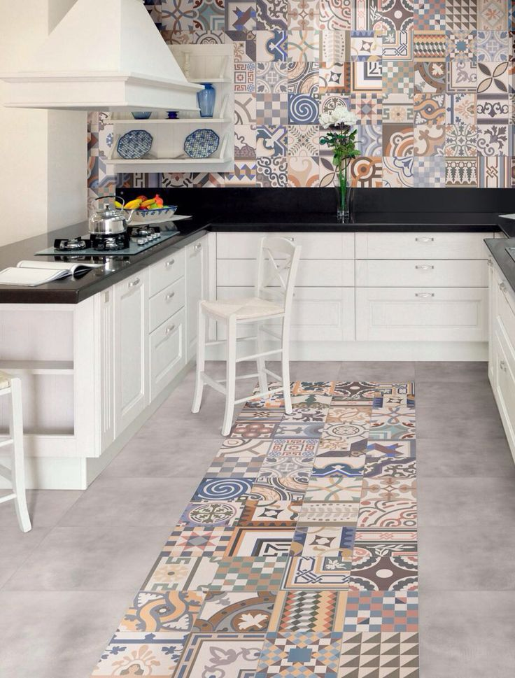 series collage a multi coloured patchwork floor wall tile