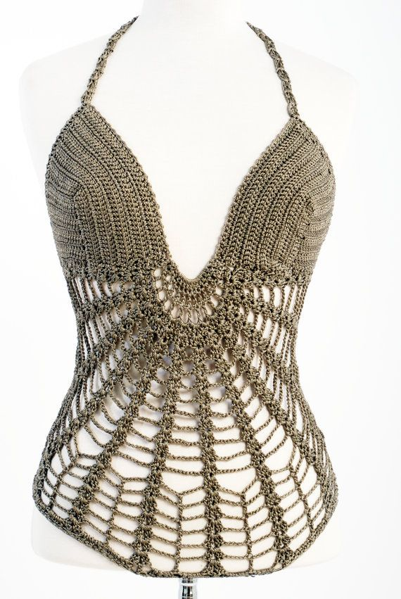 This crochet bodysuit string you can use it as erotic lingerie or summer top   wear it with a jean or a short.    It s my own design/ pattern and is hand crocheted by me