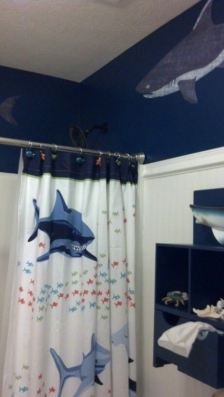 Shower Curtain From Pottery Barn Boy S Shark Bathroom