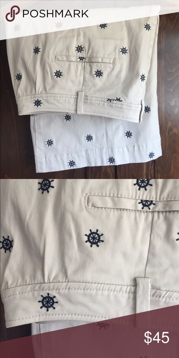 Talbots khaki nautical skirt Khaki skirt with belt loops, zipper and button.  Has navy blue embroidered anchors in it Talbots Skirts Pencil