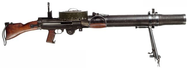 Dutch-made Lewis M1940 light machine gun, caliber 6.5x53R, with 97-round magazine.