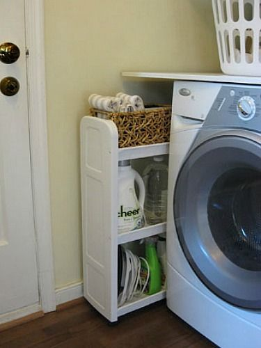 Chances are, you've got a narrow space in your laundry room just begging to be used. Narrow carts with wheels solve this annoying issue, and even hide ugly detergent bottles and other not-so-pretty necessities when you don't need them. See more at Young House Love »