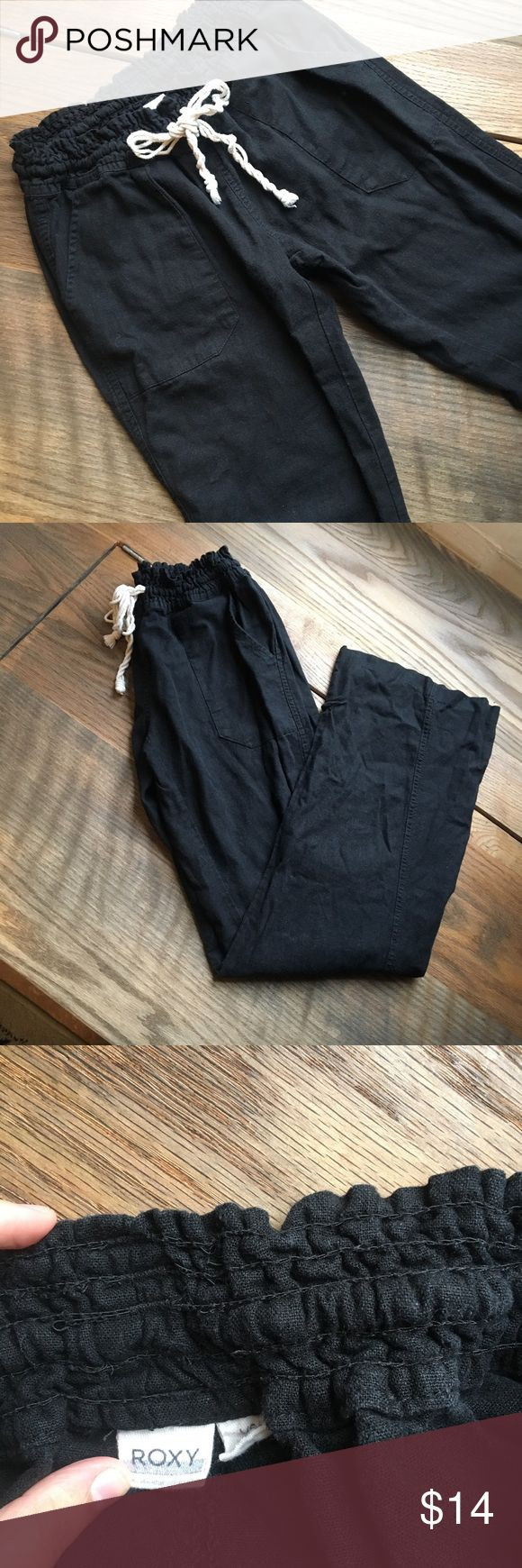 Roxy Linen Pants Black linen pants (Roxy Brand) super comfy, good condition. Large. Roxy Pants