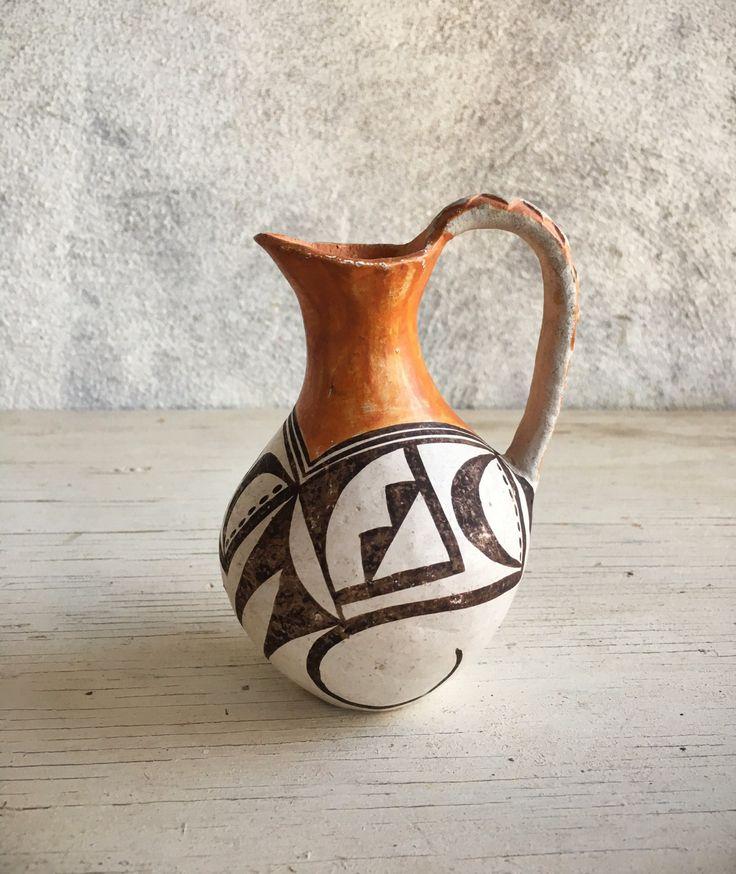 Vintage small polychrome pottery pitcher, Native American Indian pottery, Acoma pitcher, Pueblo pottery circa 1940s, Southwestern pottery