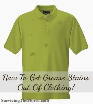Don't throw away shirts with grease stains before you read this!!  It's so easy to get rid of the stains with just one very inexpensive solution!  I now can wear the other half of my wardrobe again!!...