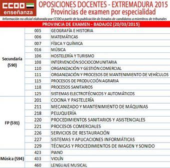 Comisiones Obreras - Federación de Enseñanza de Extremadura. Oposiciones docentes 2015 Extremadura: listados de funcionarios de carrera que pueden ser miembros de Tribunales, actualizado
