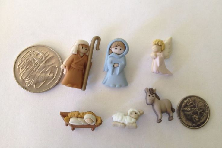 Novelty Dress It Up Buttons - Nativity Mary Joesph manger angel grey donkey 7473