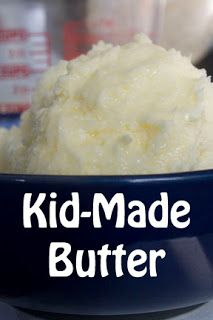 Kid-made Butter - for How to Make an Apple Pie and See The World (churn milk into butter)