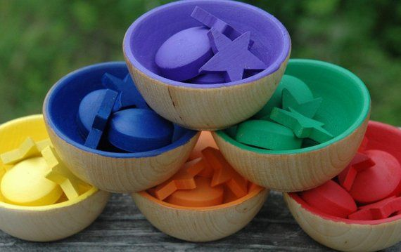 Rainbow bowls preschool learning toy Montessori material Waldorf toy wooden color sorting bowls stacking toy Montessori toddler