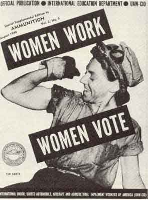Political Cartoon stating that if women are capable of working, they are capable of voting!
