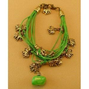 Pulsera Cuarzo Verde y Elefante de la Suerte