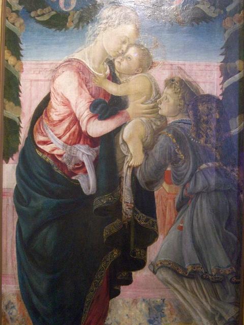 Sandro Botticelli (1445-1510), Vierge à l'enfant soutenue par un ange (détail)    Musée Fesch, Ajaccio (Corse)